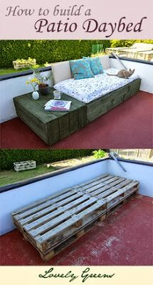 How to build a patio daybed using pallets - easy, attractive, and results in a cozy place to chill out :)