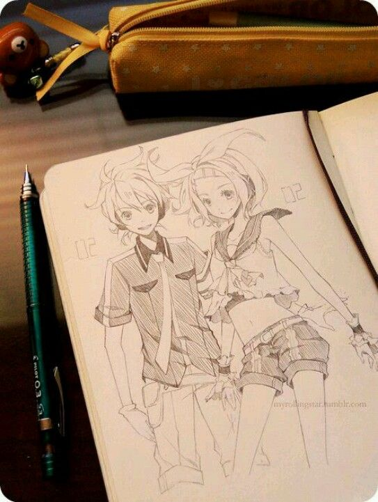 Dibujo Vocaloid, Len y Rin.