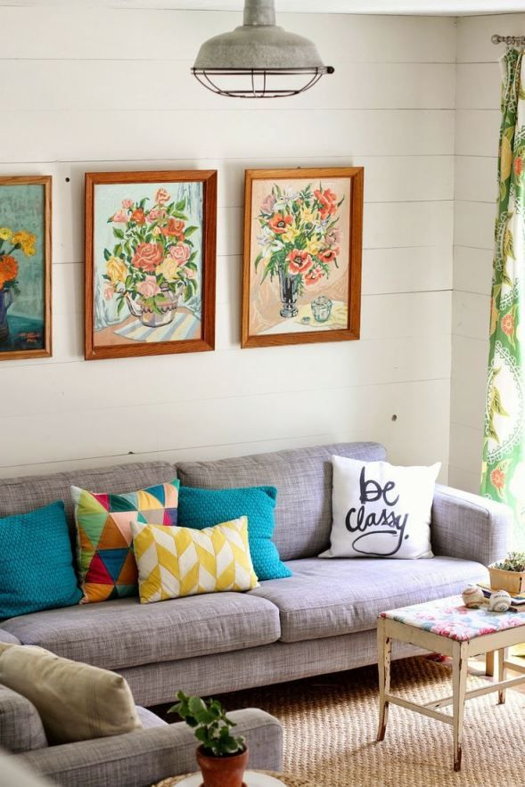 living room, floral painting, cushion, grey sofa, pattern, interior, home, vintage furniture, light fitting
