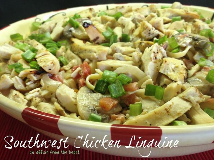 A slightly spicy, creamy pasta dish with chicken and mushrooms