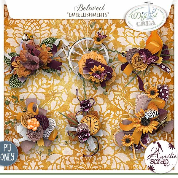 """Embellishments """"Beloved"""" by Aurélie Scrap. Such warm colors are in this automnal embellishments packs. Beloved - digital scrapbooking kit by Aurelie Scrap. The shiny kit is full of sunny colors and is perfect to document everyday moments of your shining & autumnal moments."""