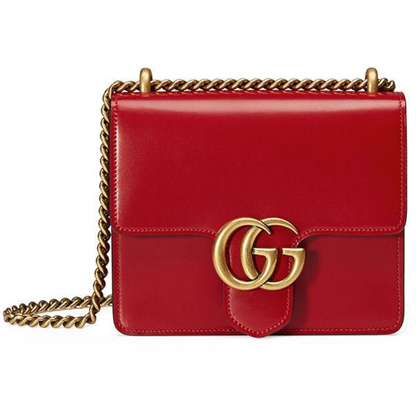 Gucci GG Marmont Small Leather Shoulder Bag (113.165 RUB) ❤ liked on Polyvore featuring bags, handbags, shoulder bags, bolsas de lado, gucci, red, leather handbags, chain shoulder bag, red handbags and genuine leather shoulder bag