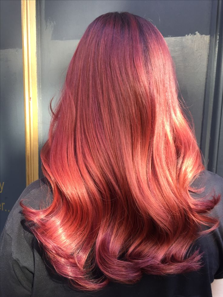 Soft waves red hair Beautyworks hair extensions