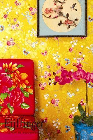 wallpaper in vibrant colours by Pip Studio for Eijfinger #FlowerShop
