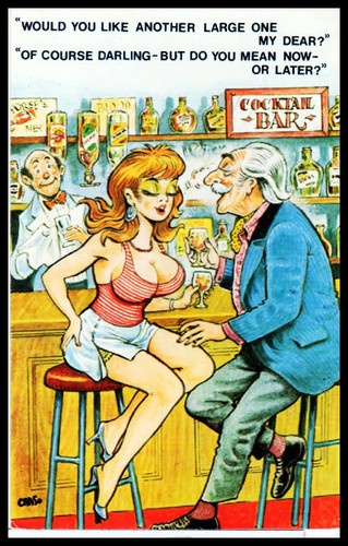C 1960 Signed Bamforth comic Risqué Postcard Cocktail Bar Large ONE
