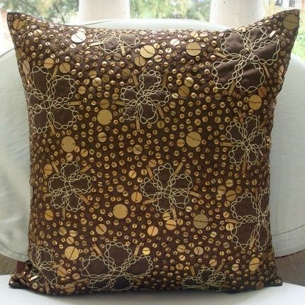 """Metal Sequins Brown Art Silk 18""""X18"""" Pillow Cover - Total Sophistication"""