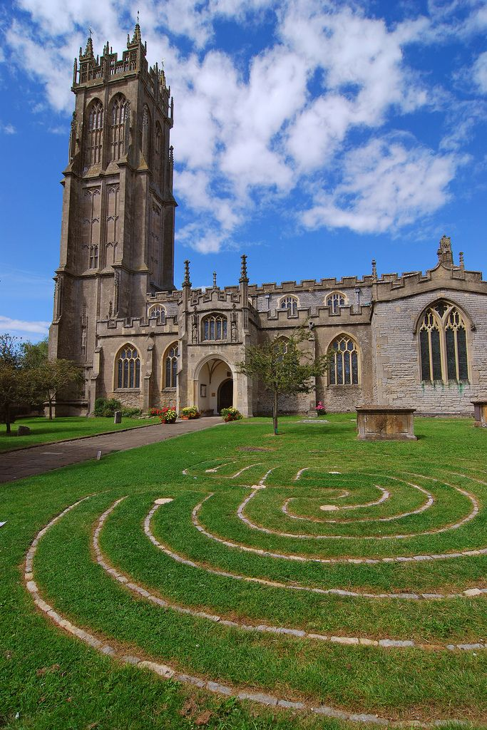 Labyrinth outside of Church of St John in Glastonbury town, Somerset, England by Thomas Roland
