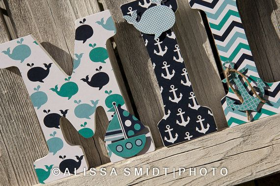 Custom Nursery Wooden Letters, Baby Girl's Nursery - Nautical Theme Custom Letters (whale, boat, anchor) 9 inch size