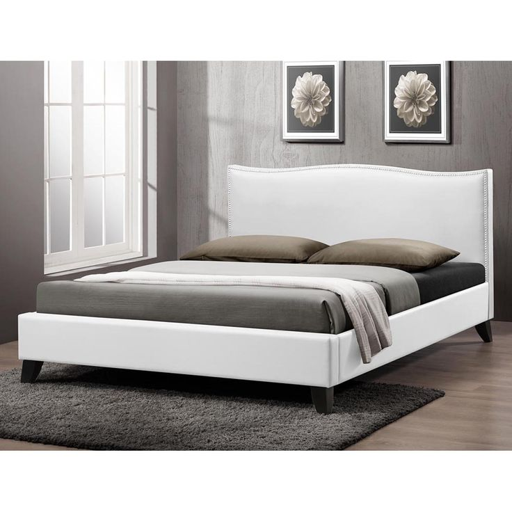 battersby white modern bed with upholstered headboard by baxton studio