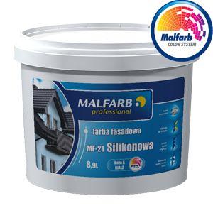 Farba fasadowa MF-21 jest przeznaczona do dekoracyjno-ochronnego malowania elewacji budynków. Jest wysokiej jakości wodną matową farbą silikonową, przeznaczoną do wykonywania trwałych wymalowań zewnętrznych na wszelkich podłożach jak: tynki cementowe, cementowo-wapienne, tynki akrylowe, beton, gazobeton, piaskowiec, cegła, szpachlówki itp.