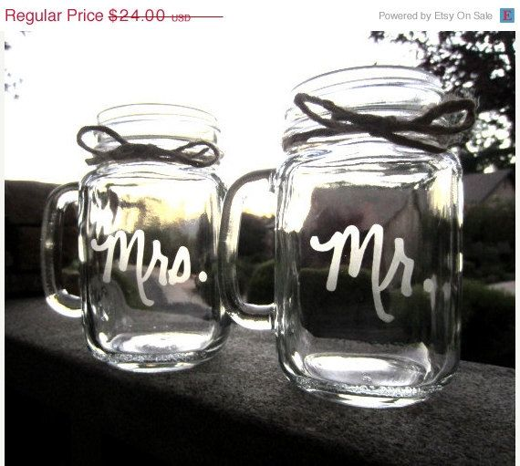 Mr. Mrs. Mugs Mason Jar Mugs Mason Jar by EtchedExpressions, $21.60