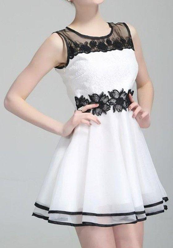 White Patchwork Embroidery Sleeveless Chiffon Mini Dress - Mini Dresses - Dresses