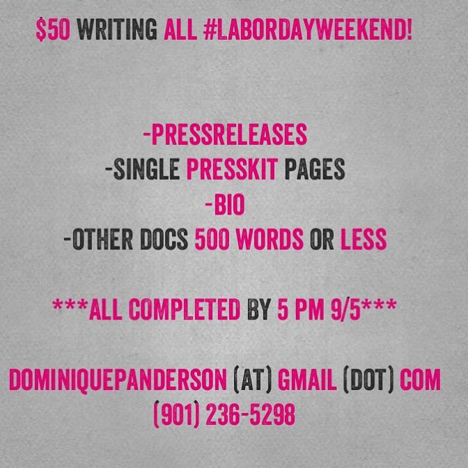 $50 single docs ALL #labordayweekend  #presskit pages #pressrelease #bio Docs 500 words  DominiquePAnderson (at) Gmail (dot) Com  ALL ORDERS COMPLETED BY 5pm 9/5. 🙂👍🏽 #musician #rapper #indielabel #smallbusiness #speaker #expert #realtor