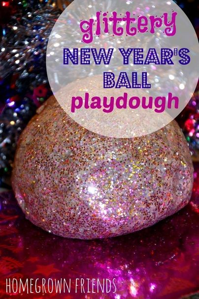 Glittery New Year's Ball Playdough