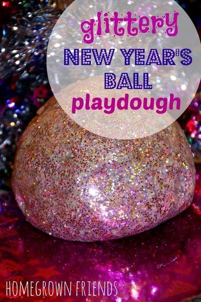 Glittery New Year's Ball Playdough.  Visit pinterest.com/arktherapeutic for more #sensoryplay ideas