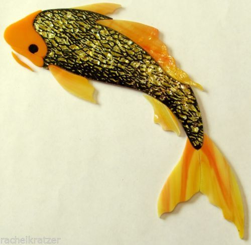 Precut stained glass art kit GOLD BUTTERFLY KOI FISH ...