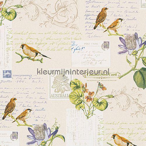 Brieven & vogels romantisch behang