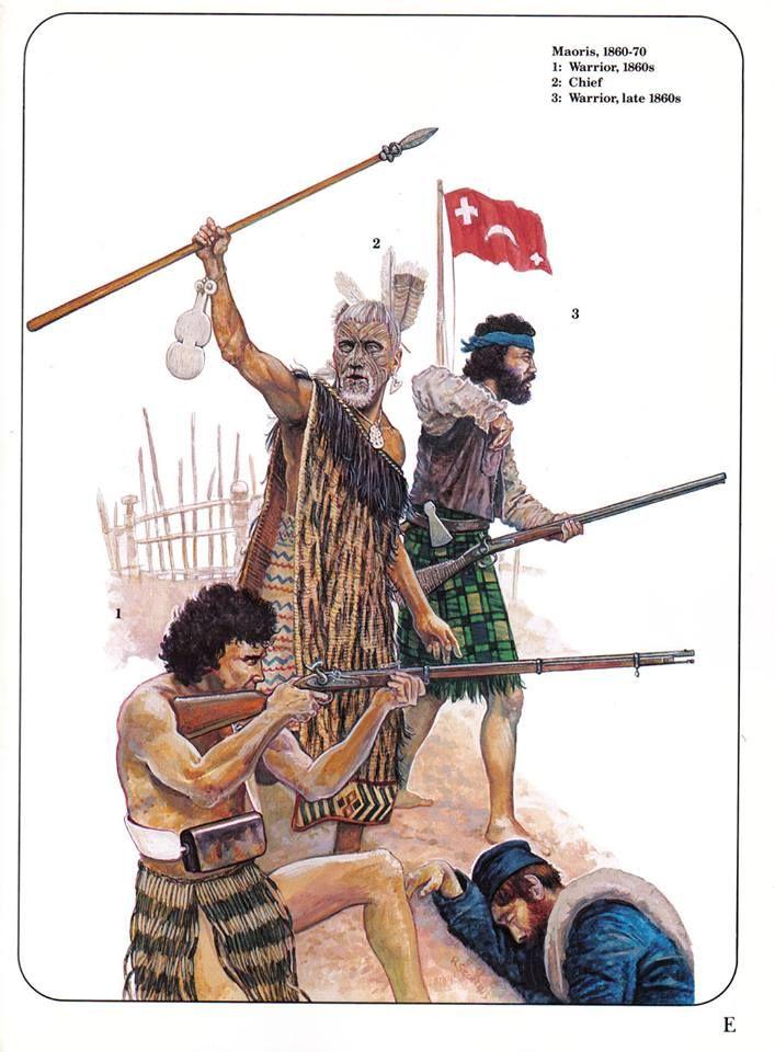 Maoris,1860-1870. 1:Warrior,1860s.2:Chief.3:Warrior,late 1860s.