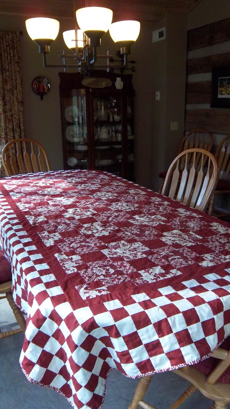 Red And White Quilted Tablecloth