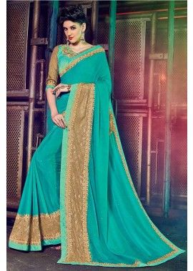 couleur cyan mousse mousseline saree, -  109,00 €,  #Sariindienmariage  #Sariindien2017  #Sariindien pas cher  #Tenue indienne  #Sarimariage  #Shopkund
