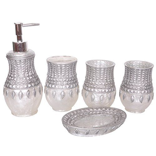 $36 1mall 5 Piece Resin Bathroom Accessories Set,Soap Dispenser, Toothbrush  Holder,