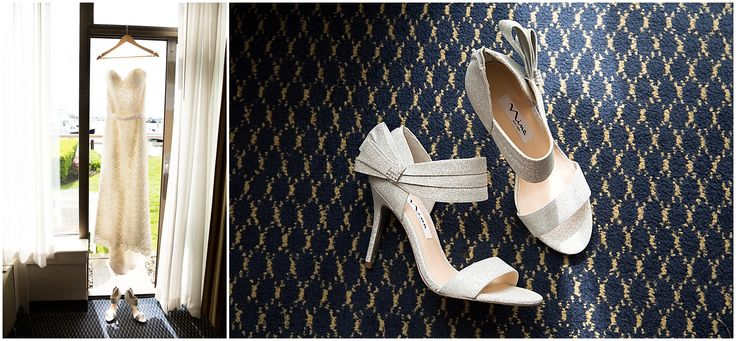 Casablanca Dress and fancy shoes from Kelly + Scott's Newport wedding at the Landing Restaurant.   http://photographybyohsnap.com/kelly-scott-the-landing-restaurant-newport-ri/