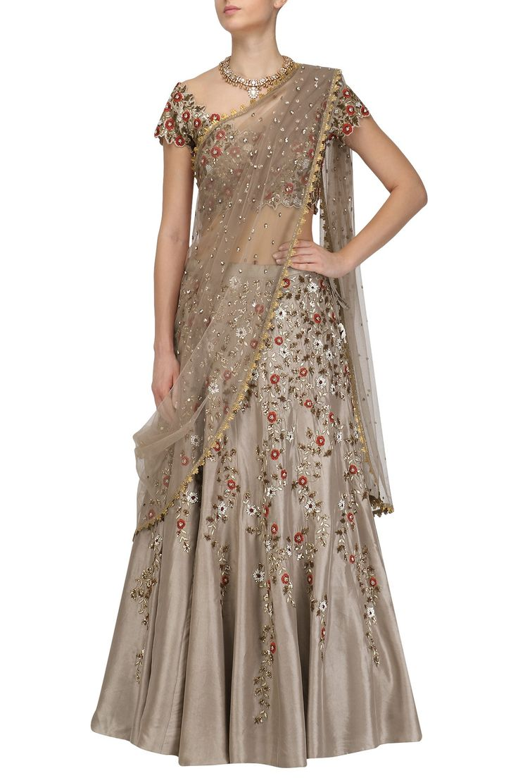 Grey Floral Embroidered Lehenga and Blouse Set By Joy Mitra #ethnic #traditional #pernia #perniaspopupshop #ethnicwear #indianwear #shopnow