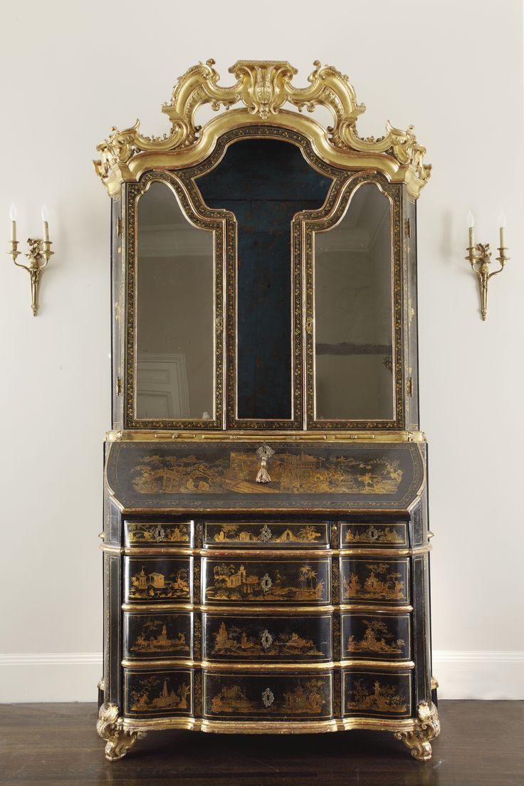 an italian baroque parcel gilt black and gilt japanned and polychrome decorated bureau cabinet. Black Bedroom Furniture Sets. Home Design Ideas
