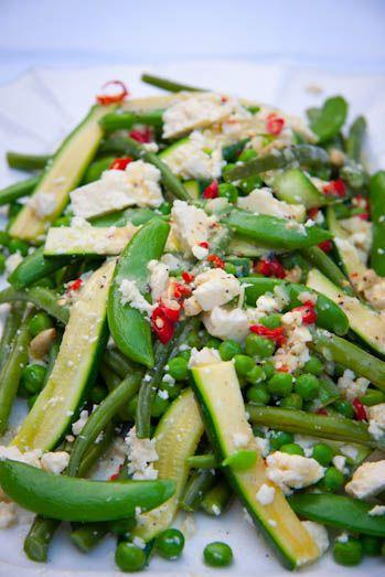 Warm Spring Veg Salad with feta cheese