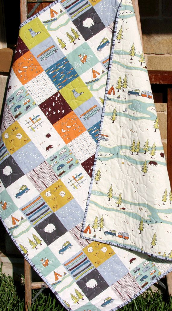 Baby Quilt, Organic, Camp Sur Camping Outdoors Hiking Canoeing, Unisex Boy Girl Blanket, Bears Fox Fish, Modern Forest Woodland Baby Quilt Organic Camp Sur Camping Outdoors by SunnysideDesigns2