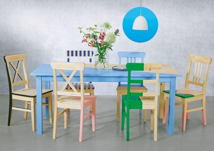 Creëer je eigen stijl met deze houten stoel/houten tafel en een likje verf http://ow.ly/Ajk1m http://ow.ly/AjzDA