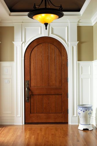 465 with arch-top and v-groove panel | shown in oak -   View Door Detail - Print/Share
