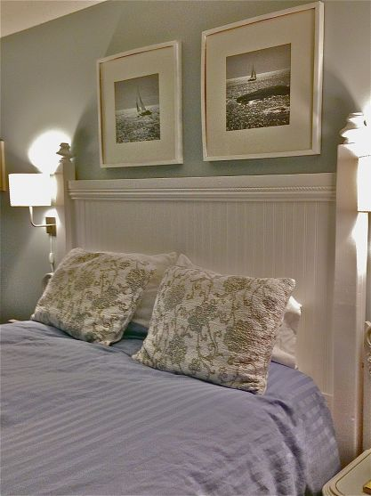 DIY Headboard make with beadboard and salvaged large porch post sawn in half, put right on wall.
