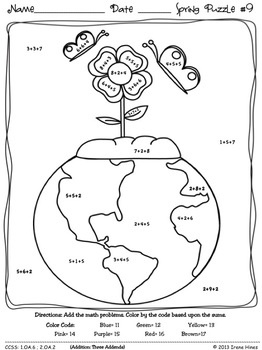 """EARTH DAY FUN!  9 MATH PUZZLES! """"Sum"""" Spring Showers: Spring Math Printables ~ Color By The Code Puzzles To Practice Basic Addition Facts. ~This Unit Is Aligned To The CCSS. Each Page Has The Specific CCSS Listed.~ This set includes 9 math puzzles... Skills covered: ~ +7 and +8 Sums to 19 ~ +9 and +10 Sums to 19 ~ Doubles, Doubles Plus One ~ Three Addends~ Missing Addends~Addition. Set also includes 9 answer keys for the 9 puzzles as well as examples and display ideas. $"""