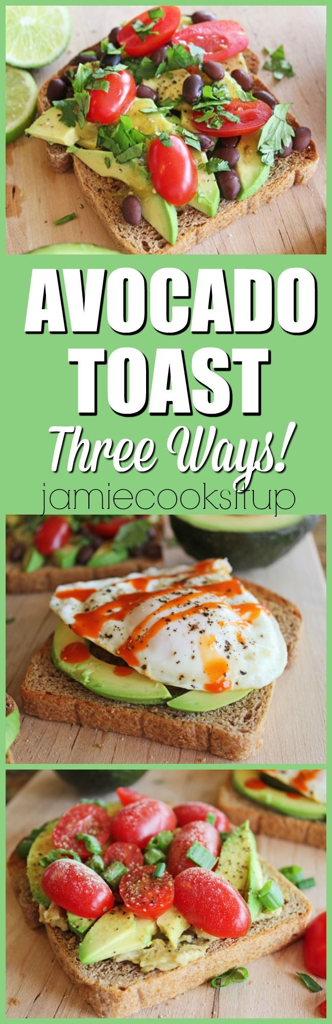 Avocado Toast Three Ways from Jamie Cooks It Up! Fast, healthy, filling and delicious these avocado toasts make a fantastic breakfast, lunch, snack or light dinner.: