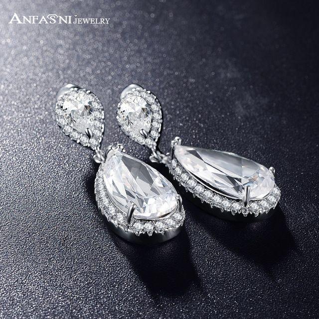 Anfasni otoño clásico elegante forma de lágrima pendientes de gota del aaa cubic zirconia pendientes de las señoras para el banquete de boda cer0013-b