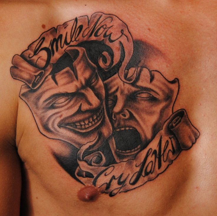 Smile Now Cry Later Tattoo: Smile-and-cry-mask-of-theather-tattoo