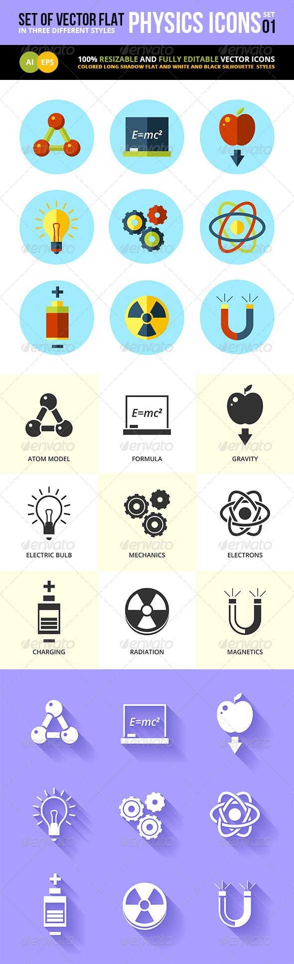 Physics Icons Flat Set  #graphicriver