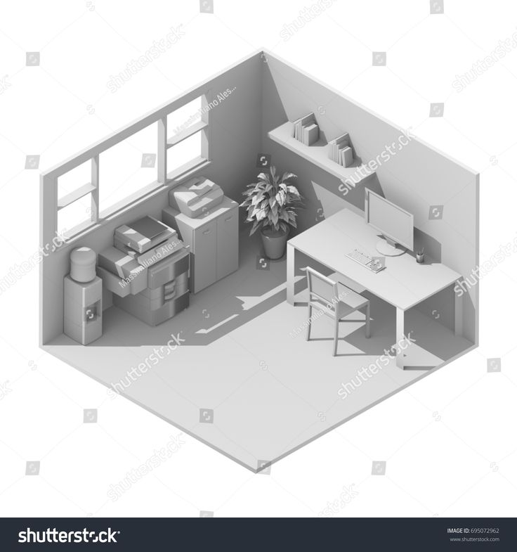 #White #3d #interior #isometric #rendering of #furnished  #office