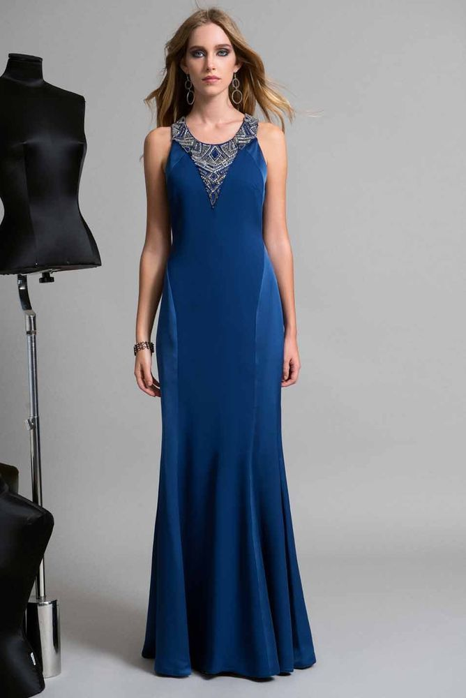 84846a75398b Edas Italia abito lungo Sloven vestito BLU cerimonia evening dress 46-54