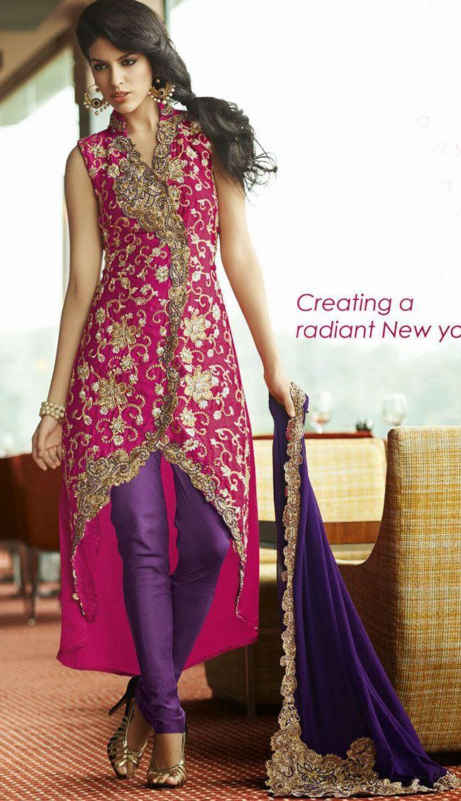 Pink Crepe Silk and Satin Designer Salwar Kameez - IG8466 CAD $ 192.41