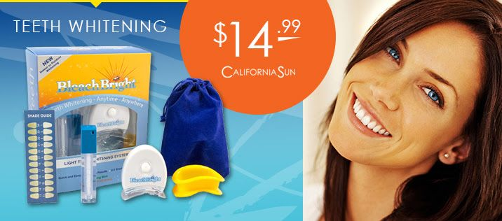 7/14/15 Light up the room with your smile! Bleach Bright Teeth Whitening is on sale now for just $14.99. This whitening system can be used at home or while tanning, and the powerful, yet gentle solution will provide impressive results with minimal sensitivity. No print out required. Limited to stock on hand, while supplies last.