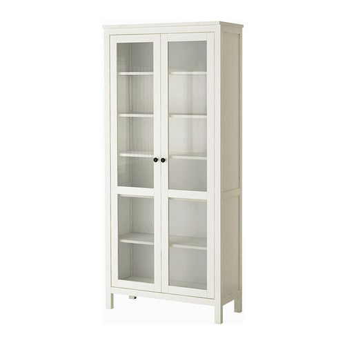 $320 HEMNES Glass-door cabinet, white stain white stain 35 3/8x77 1/2  Paint or paper back, replace knobs