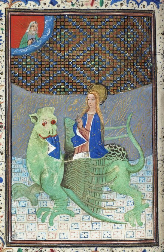 Detail of a miniature of St Margaret emerging from the side of a lion-like dragon, from a Book of Hours, Use of Sarum, Netherlands, 3rd quarter of the 15th century, Harley MS 2985, f. 37v