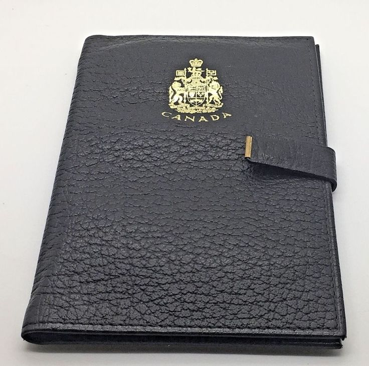 Vtg Canada Canadian Renwick  Genuine Leather Passport   Document Holder Black  #Renwick