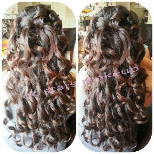 bridemaid hair styles half up half with curls hairstyle sweet 15 3818