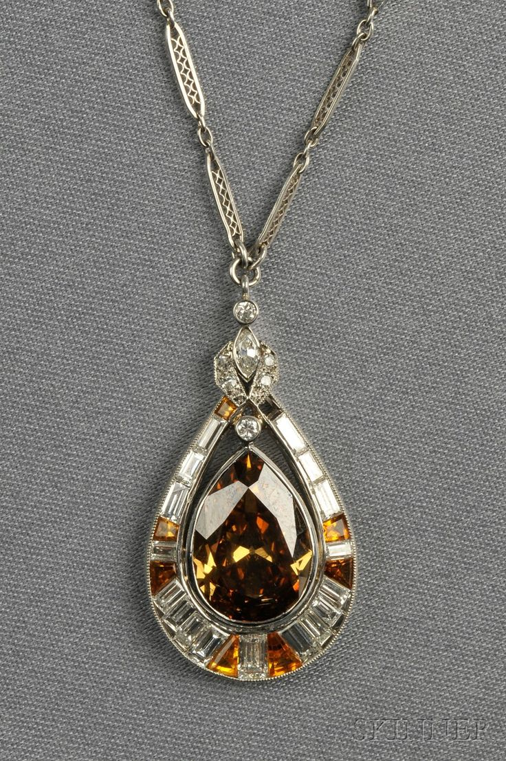 Belle epoque pink topaz and diamond pendant necklace topaz