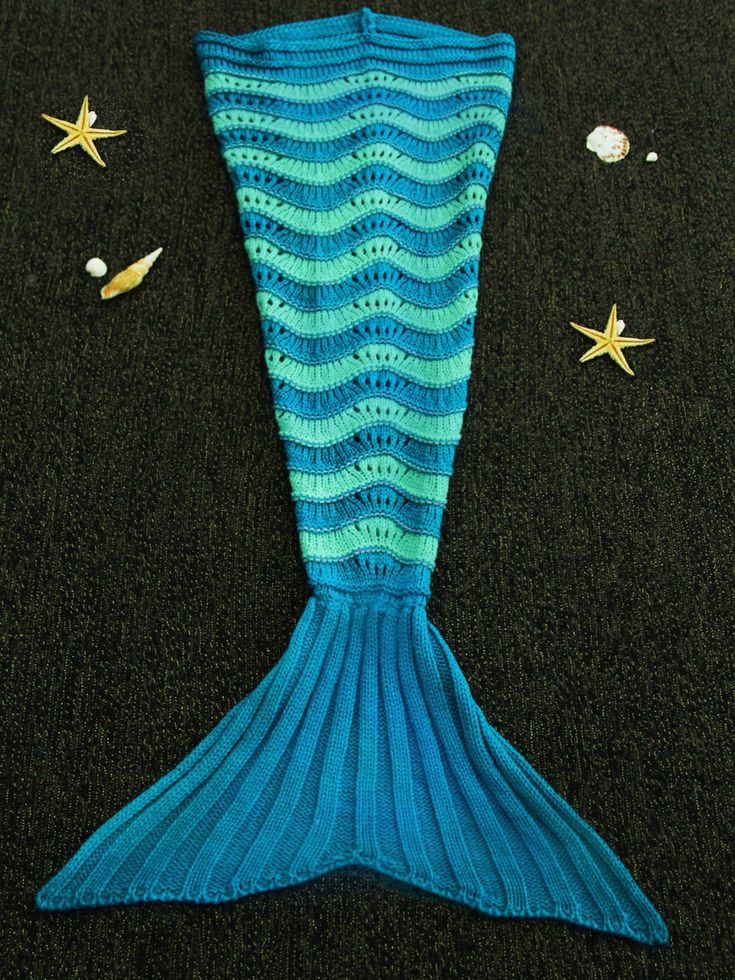Endearing Hit Color Knitted Stretchy Fishtail Blanket For Children