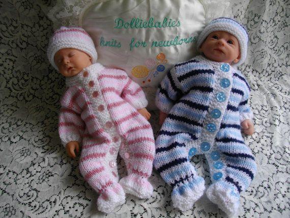 Knitting PATTERN No.28 Micro Preemie - 0/3 Months Unisex All in One/Onesie/Romper/Sleepsuit Set PDF Format