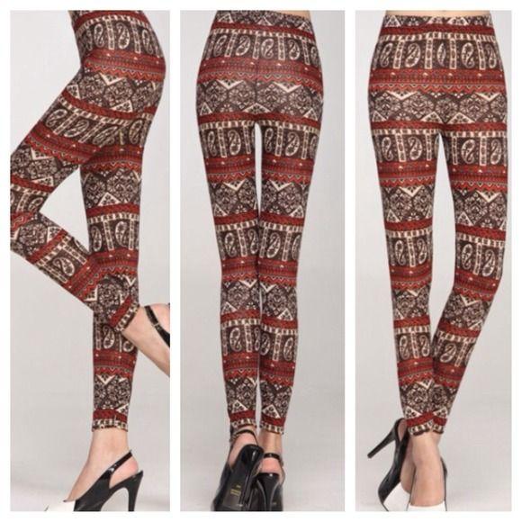 NEW NIP Tribal Aztec Paisley Print Red leggings OS NEW NIP Tribal Aztec Paisley Print Red Brown Cream leggings OS, fits XS-M Pants Leggings